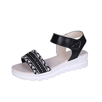 5271bd06f9fa7 Amazon.com: Women Thick Bottom Flat Sandals - Ladies Wide Strap Open ...