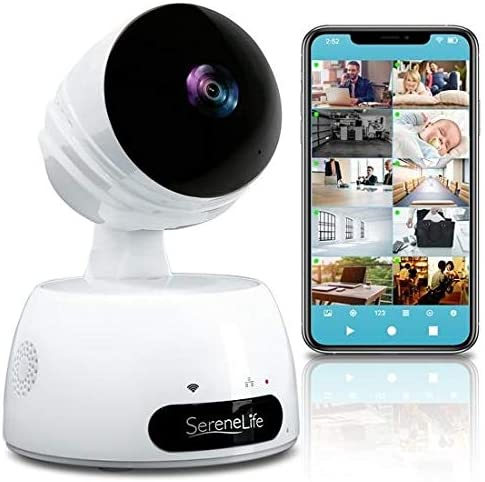 SereneLife Indoor Wireless IP Camera-HD 720p Network Security Surveillance Home Monitoring w/ Motion Detection, Night Vision,PTZ,2 Way Audio, iPhone Android Mobile App-PC WiFi Access- IPCAMHD30,White