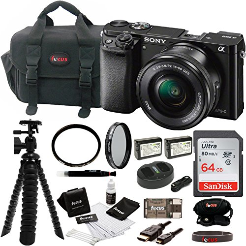 Sony Alpha ILCE-6000L/B a6000 Digital Camera with 16-50mm Lens Bundle with Accessory Bundle (Black) by Focus Camera