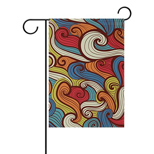 """LEISISI Lines Waveform Garden flag 12""""X18"""" Two Sided Yard De"""