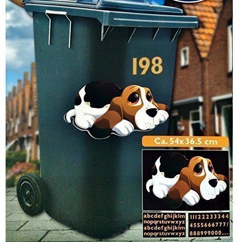 6 Motive Mülltonnenaufkleber Mülleimer Aufkleber Mülltonne Sticker Fenster Wand (Süsser Hund)