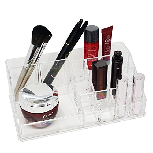 d'Moda Designs Crystal Clear Acrylic Makeup Organizer Tray. Premium Quality Cosmetic Storage with 12 Lipstick Slots and Space for Brushes, Skincare, Nail Polish, Blush and More