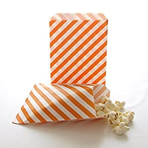 Halloween Party Bags, Birthday Party Paper Supply Packs, Gift Goodie Bags, Fall Bags, Orange Stripe Bags (25 Pack)