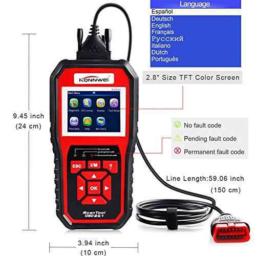KONNWEI OBD2 Scanner, OBD Code Reader Code Scanner OBDII & EOBD Car Engine Fault CAN Diagnostic Scan Tool with I/M Readiness(Updated 2018) by KONNWEI (Image #4)