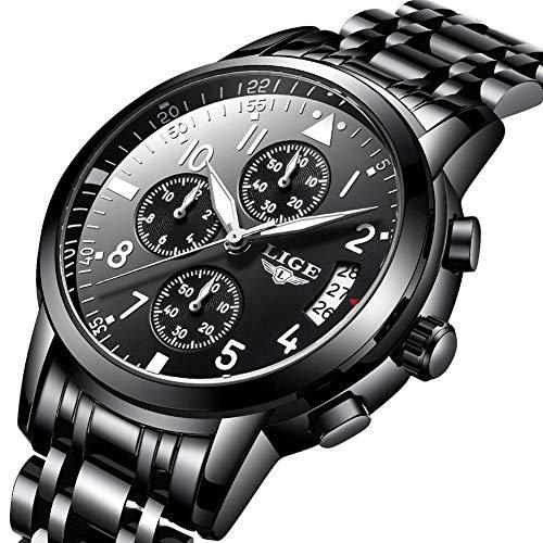 (Mens Watches Stainless Steel,LIGE Waterproof Chronograph Sport Analog Quartz Watch Gents Date Business Casual Luxury Dress Wrist Watch Black)