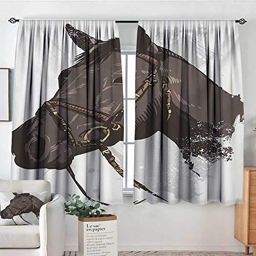 (Mozenou Equestrian Window Curtain Drape Wild Horse Portrait with Grunge Paintbrush Effects Graphic Art Design Print Decorative Curtains for Living Room 72