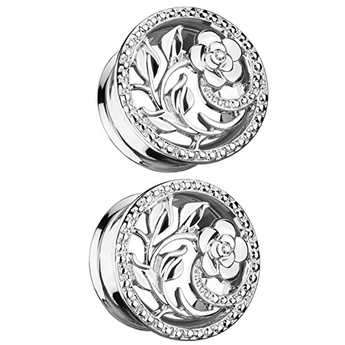 Pair of Flower and Vines Steel Ear Plugs Tunnels Double Flared (Steel 5/8
