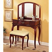 Tri Mirror Cherry Vanity Set w/ Wide Cushion Stool