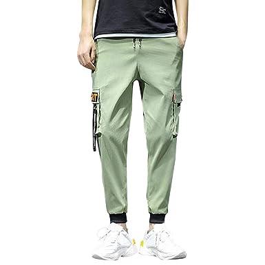 Cintura elástica Cinturón Hombre Cargo Pantalones Jogging ...