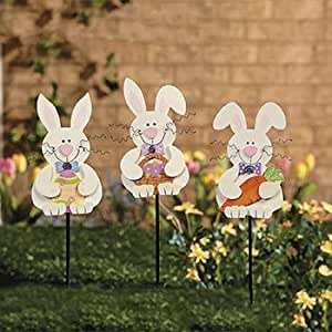 Amazon.com : Spring Bunny Yard Stakes (Set of 3) - Spring ... on Backyard Decorations Amazon id=83699