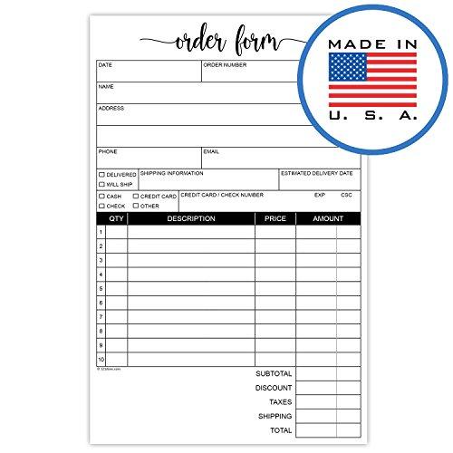 321Done 2-Part Carbonless Order Form Script Font, Invoice Purchase Orders Sales Receipt, 50 Sets per Pad, Half-Letter Size 5.5