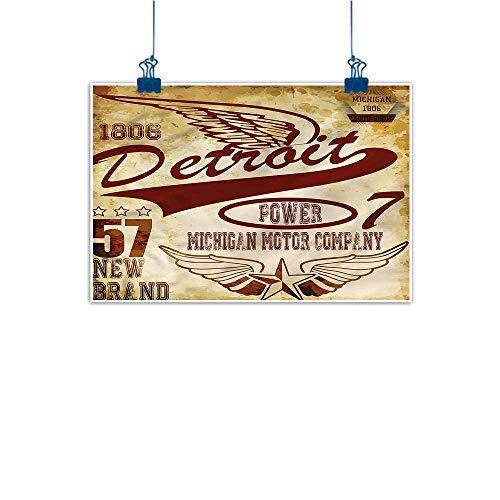 Warm Family Art Oil Paintings Detroit Vintage Michigan Auto Canvas Prints for Home Decorations 24