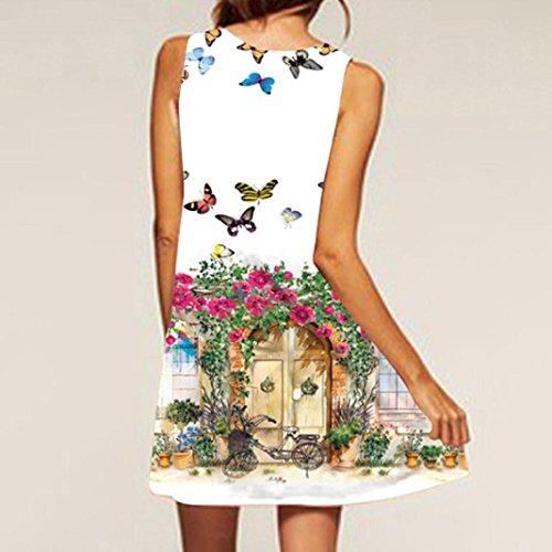 NREALY Women's Vintage Boho Summer Sleeveless Beach Printed Short Mini Dress Vestido(S, White) by NREALY (Image #2)