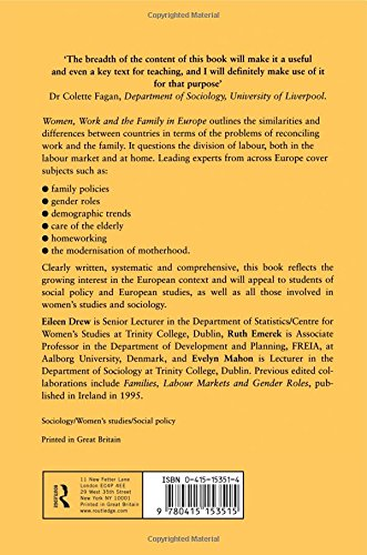 women work and the family in europe drew eileen mahon evelyn emerek ruth