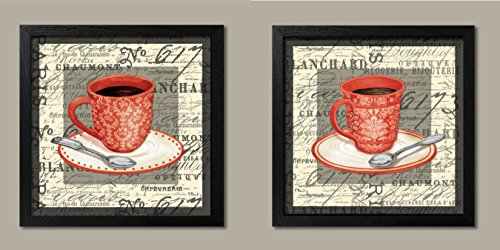 2 Vintage French Cafe Cups of Coffee with a Script Background