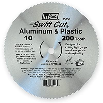 IVY Classic 35056 Swift Cut 10-Inch 200 Tooth Aluminum & Plastic Cutting Circular Saw Blade with 5/8-inch Arbor, 1/Card by Ivy Classic Industries