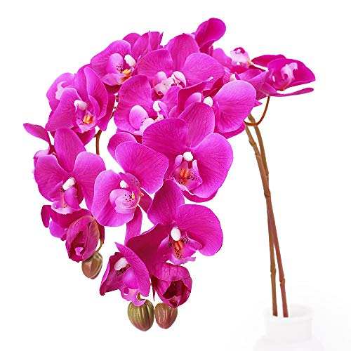 N&T NIETING Artificial Orchid Phalaenopsis Flower, 2PCS 29in Real Touch Simulation Orchild with Stem for Wedding, Flower Arrangement, Home Centerpiece Decor, Party Decorations (Deep Pink-2) (Silk Red Orchids)