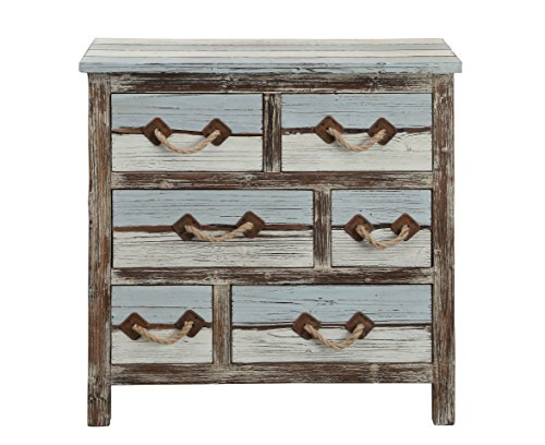 Treasure Trove Six Drawer Chest, Brown/Blue/Cream - Cottage 6 Drawer Chest