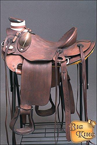HILASON WD085OLSTNWALBK 15'' BIG KING SERIES WESTERN WADE RANCH ROPING COWBOY HORSE SADDLE