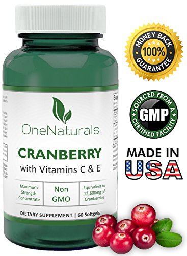 Cranberry Concentrate Pills with Vitamins C, E – Urinary Tract Health Supplement (UTI Protection) – Max Potency, 50:1 Extract Equal to 12,600mg of Cranberries