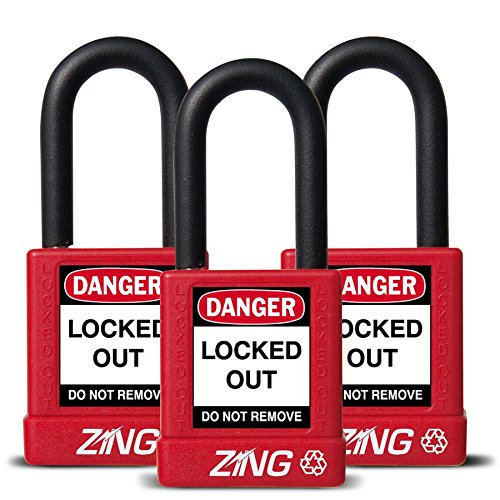 ZING 7062 RecycLock Safety Padlock, Keyed Alike,1-1/2'' Shackle, 1-3/4'' Body, Red, 3 Pack by Zing Green Products