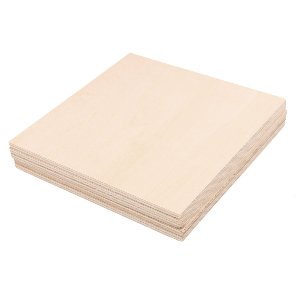 RDEXP 15x15cm Blank 5mm Thickness Wooden Board Unfinished Unpainted Wood Sheets for Wood DIY Craft Carving Modeling Set of 5 RDEXPAM