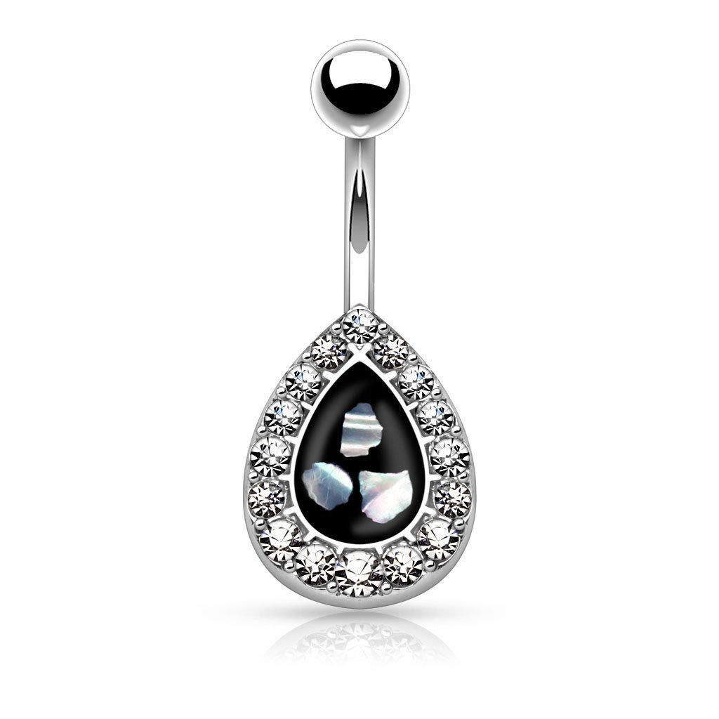 1 Pc Black CZ Mother of Pearl Tear Drop 14K Gold Plated Surgical Steel Navel Belly Ring 14g
