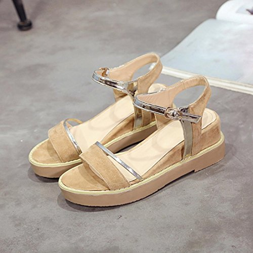 MMLC Women's Sandals Summer Increase Muffin Fish Head Platform Sandal Girls Simple Shoes Khaki 5jt8p
