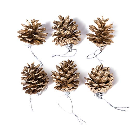 (6 Pack Set Elegant Vintage Gold Pine Cones Christmas Ornaments Decorations Faux Fake Snow Xmas Tree Holiday Pinecone Decoration Accessories 1.75 Inches Each)