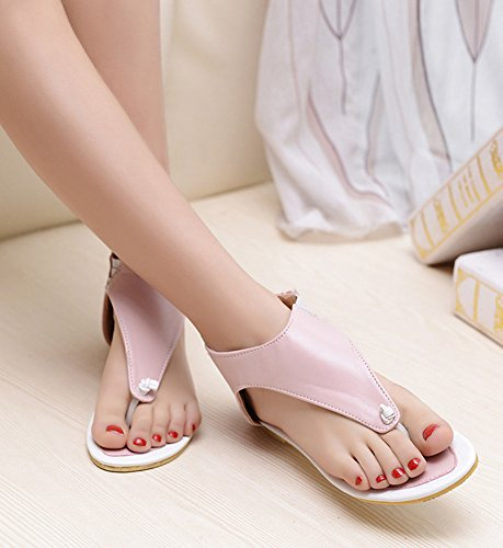 Aisun Womens Casual Simple Comfy Hollow Out Flat Flip Flops Sandals Pink EnthxC