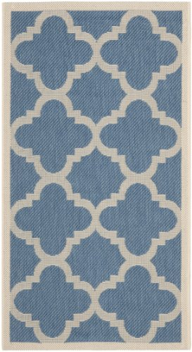 Safavieh Courtyard Collection CY6243-243 Blue and Beige Indoor/ Outdoor Area Rug (2' x (Rectangle Blue Rug)