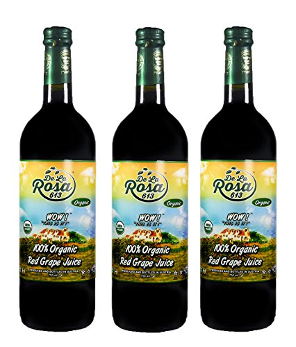 De La Rosa Real Foods & Vineyards - Kosher Organic Austrian Red Grape Juice (25.4 oz/750 ml) PACK OF 3 by De La Rosa Real Foods & Vineyards