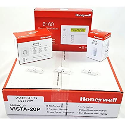 Image of Honeywell Vista 20P Hardwired Kit With a 6160 Keypad, One IS335 Motion Sensor, Three Mini 945T Contacts, and a Wave2 Siren