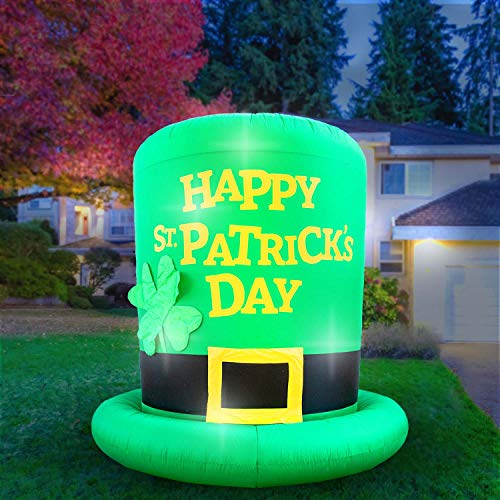 Holidayana 8-Foot Inflatable St Patricks Day Green Leprechaun Top Hat with Shamrock Decoration, Includes Built-in Bulbs, Tie-Down Points, and Powerful Built-in Fan