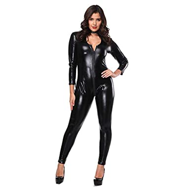 a853bbcde15 Amazon.com  FASHION QUEEN Women Ladies Plus Size Bodysuit Faux Leather  Catsuit Double Zipper Catsuit Teddy Clubwear Jumpsuit  Clothing