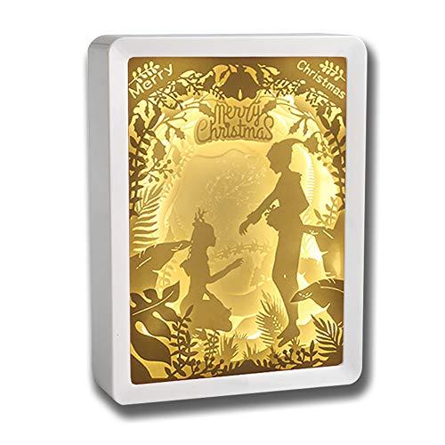 Kumiy 3D Paper Carving Lamp, Stereo Creative Remote Paper-Cut Light Box Shadow Light Warm Romantic Atmosphere, Creative Light Paintings Paper Cut Shadow Light Box (shengdan2) (Dreamy Nights Wall Border)