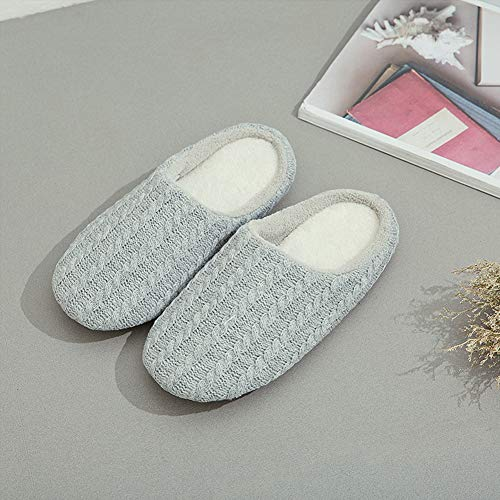 Grey Slippers SCIEN Foam Women's Knitted Light Slip Cotton Memory Indoor Cashmere House Shoes Anti dIIUBOKq