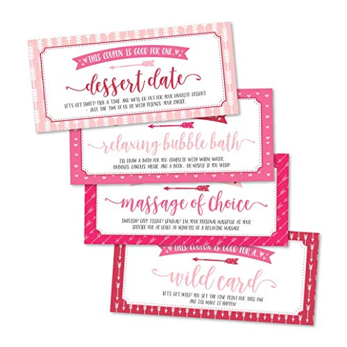 15 Pink IOU Love Voucher Coupons For Him or Her, Husband Wife Boyfriend Girlfriend Couples Valentines Day, Unique Birthday, Funny Anniversary, Romantic Christmas Gift, Naughty I Owe You Cards