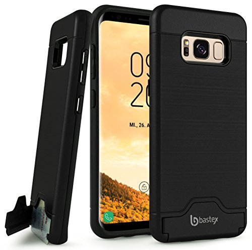 Samsung Galaxy S8 Case, Bastex Hybrid Slim Fit Black Rubber Silicone Cover Hard Plastic Black Brushed Metal Design Kickstand Case with Hidden Credit Card Slot for Samsung Galaxy S8 G950