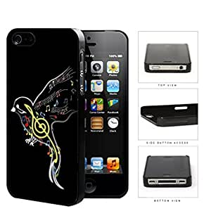 Cute Black Colorful Outline Music Notes Bird Hard Plastic Snap On Cell Phone Case Apple iPhone 4 4s