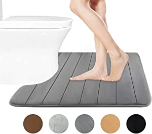 "FindNew Contour Bath Rugs, U-Shaped Bath Mats,Soft Memory Foam Bathroom Carpet, Nonslip Toilet Floor Mat,Machine Wash (19""X 23"", Grey)"