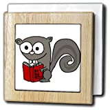 3dRose All Smiles Art Animals - Funny Cute Squirrel Reading Are you NUTS book - 6 inch tile napkin holder (nh_255650_1)