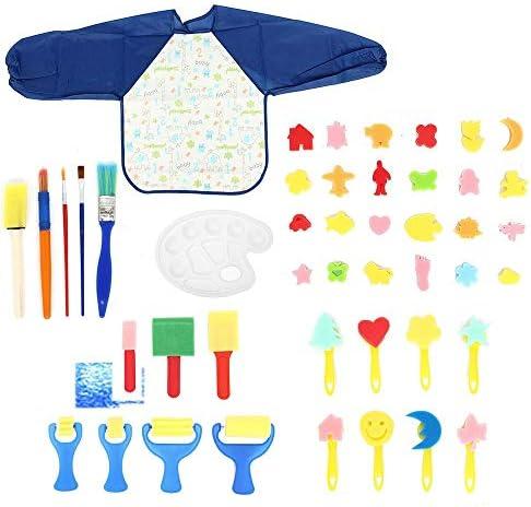 水彩筆 46Pcsスポンジプラスチックの落書きドローイング子供たちのおもちゃ子供たちはブラシフラワーアーティストペイントセットを絵画 とても使用やすいです (色 : Multi-colored, Size : 46pcs)
