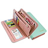 KQueenStar Women Lady Leather Wallet Purse Credit Card Clutch Holder Case(Green)