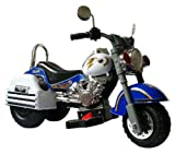 Merske Harley Style 6V Battery Operated Kids Motorcycle, Blue/White