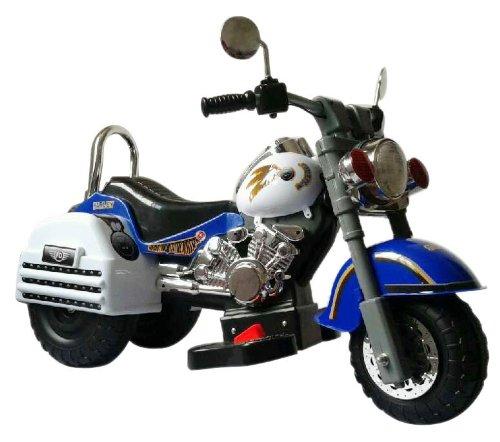 Merske Harley Style 6V Battery Operated Kids Motorcycle, Blue/White by Merske