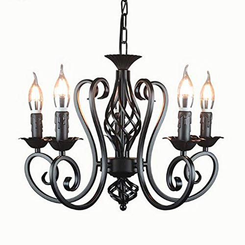 MEIDENG Industrial Lustre Chandelier Wrought Iron 3 5 6 Light Chandeliers Vintage Candlestick Retro Black White Hanging lamp Wholesale,Black,4heads 5 Light Candlestick Chandelier