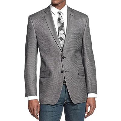 Calvin Klein Mens Silk Blend Slim Fit Two-Button Suit Jacket B/W 42L