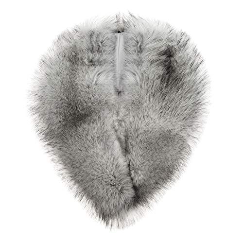 Fur Silver (Futrzane Women's Faux Fur Neck Scarf Wrap One Size (Syberian Silver))