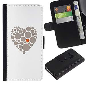 For Samsung Galaxy S3 MINI NOT REGULAR! I8190 I8190N,S-type® Heart Dot Minimalist Orange Grey - Dibujo PU billetera de cuero Funda Case Caso de la piel de la bolsa protectora